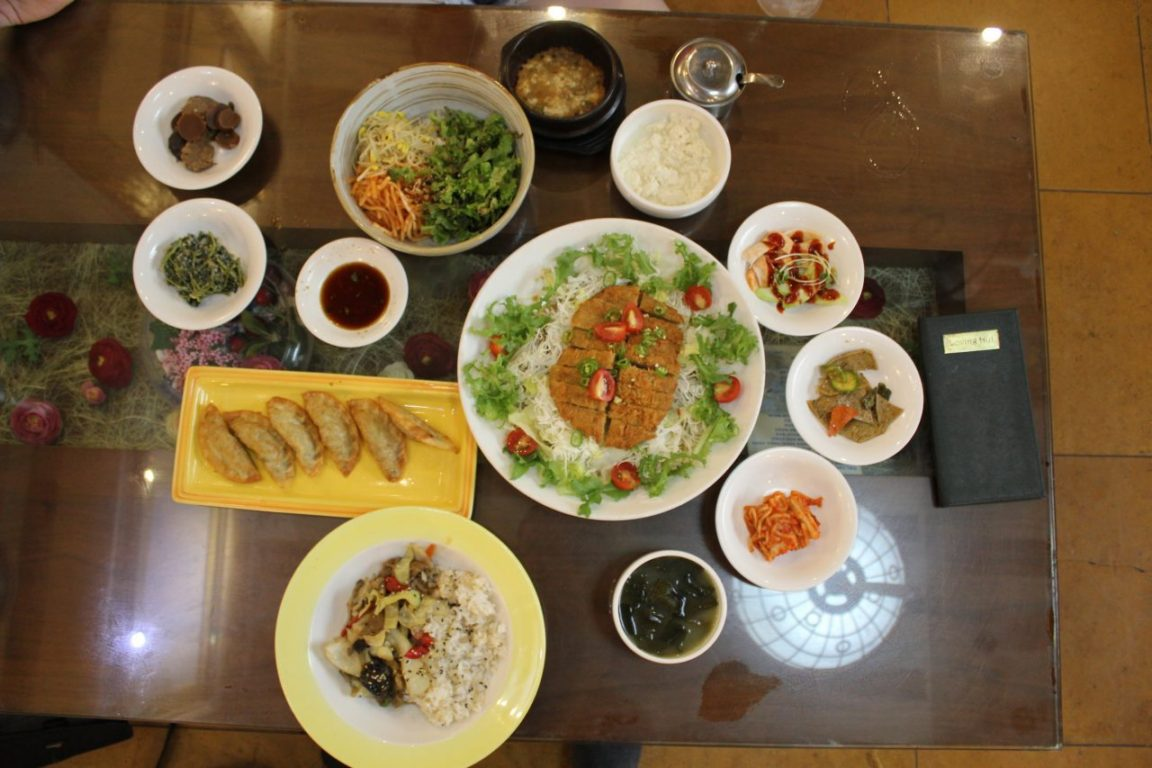 dumplings, kimchi, 'chicken' and lots of other vegan Korean food.