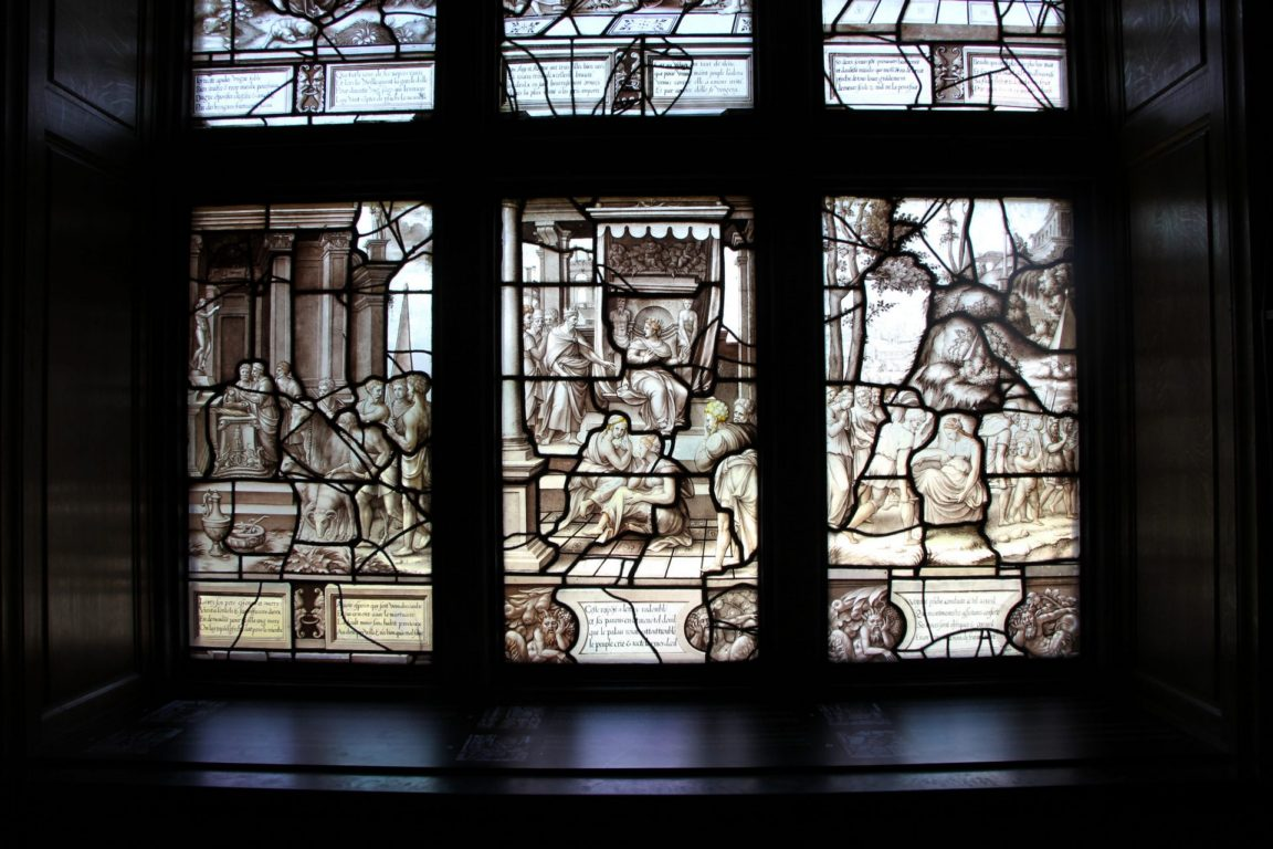 story of psyche stainglass window Chateau du Chantilly