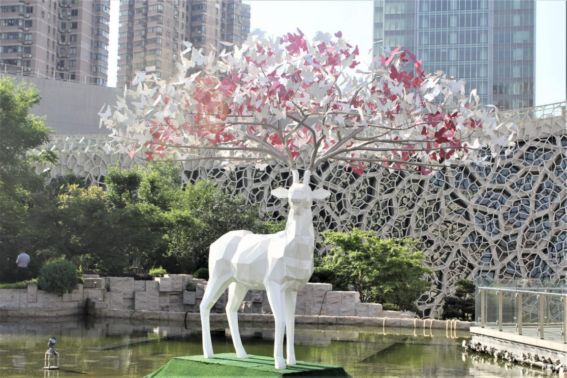 deer with butterfulies jing an sculpture park shanghai