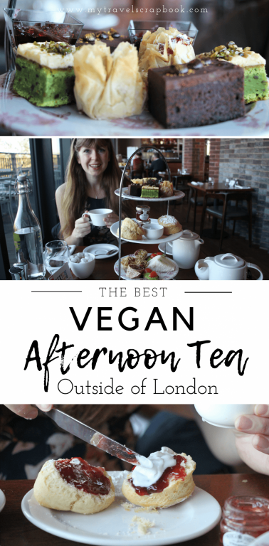 Find out where the Best VEGAN Afternoon Tea experience is outside of London! See where you can have thick, creamy soy cream on vegan scones alongside lots of other savoury and sweet vegan goodies. With unlimited hot drink refills treat yourself to the ultimate high tea. #vegan #afternoontea #mytravelscrapbook