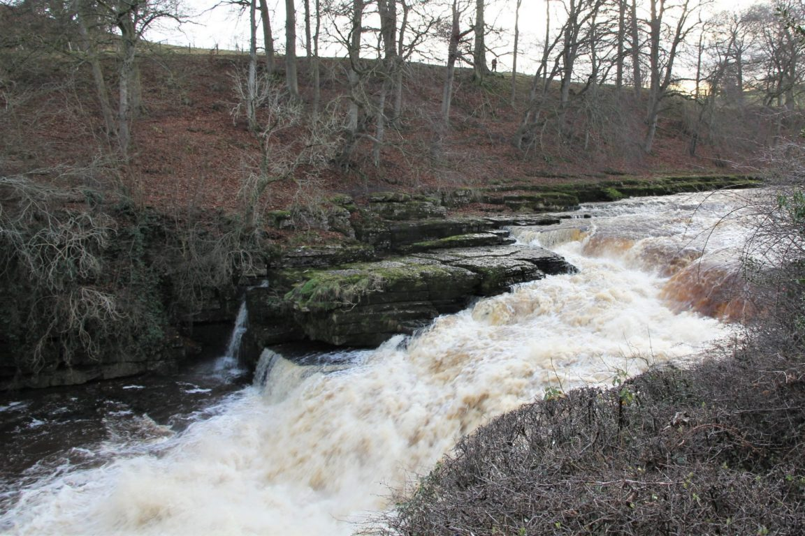 Aysgarth Lower Waterfall in North Yorkshire in winter