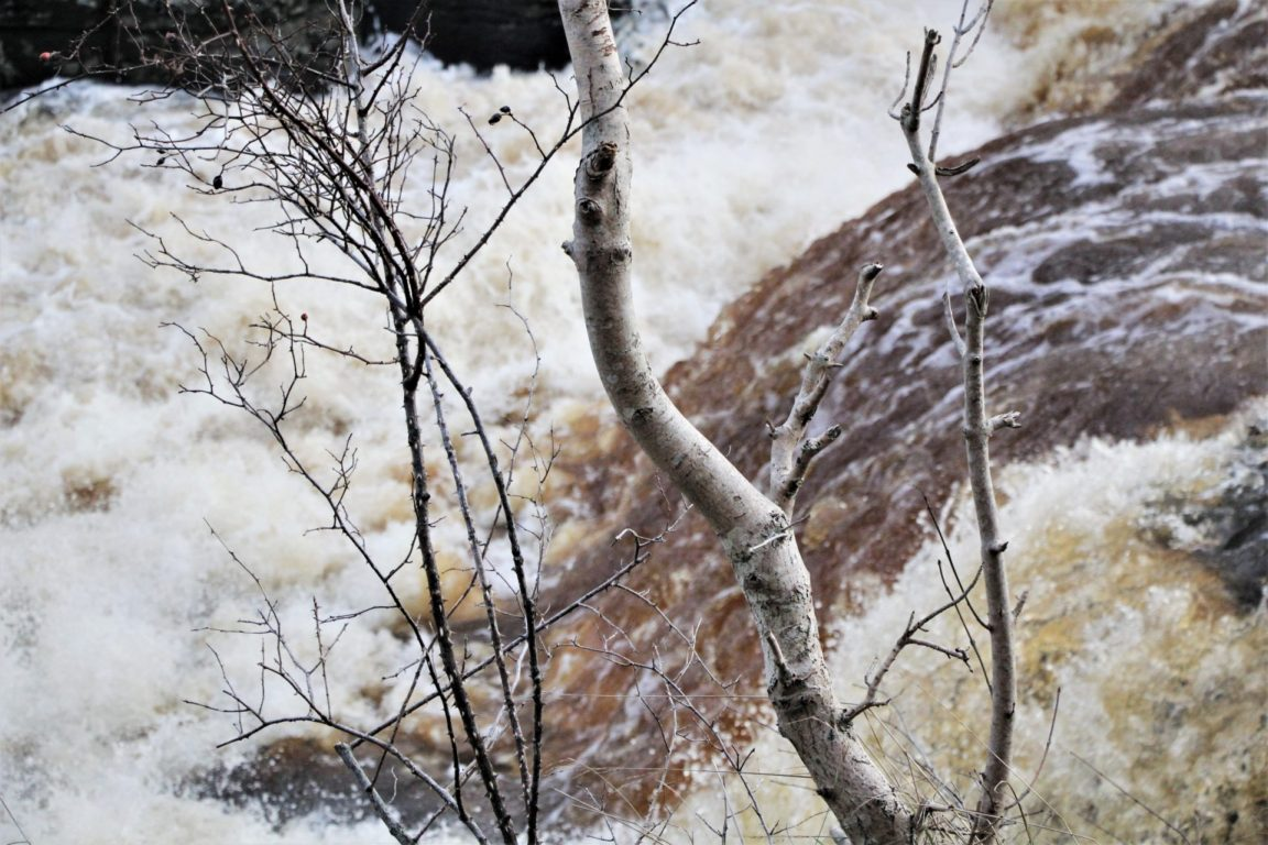 Closeup of Aysgarth Lower Waterfall in North Yorkshire in winter