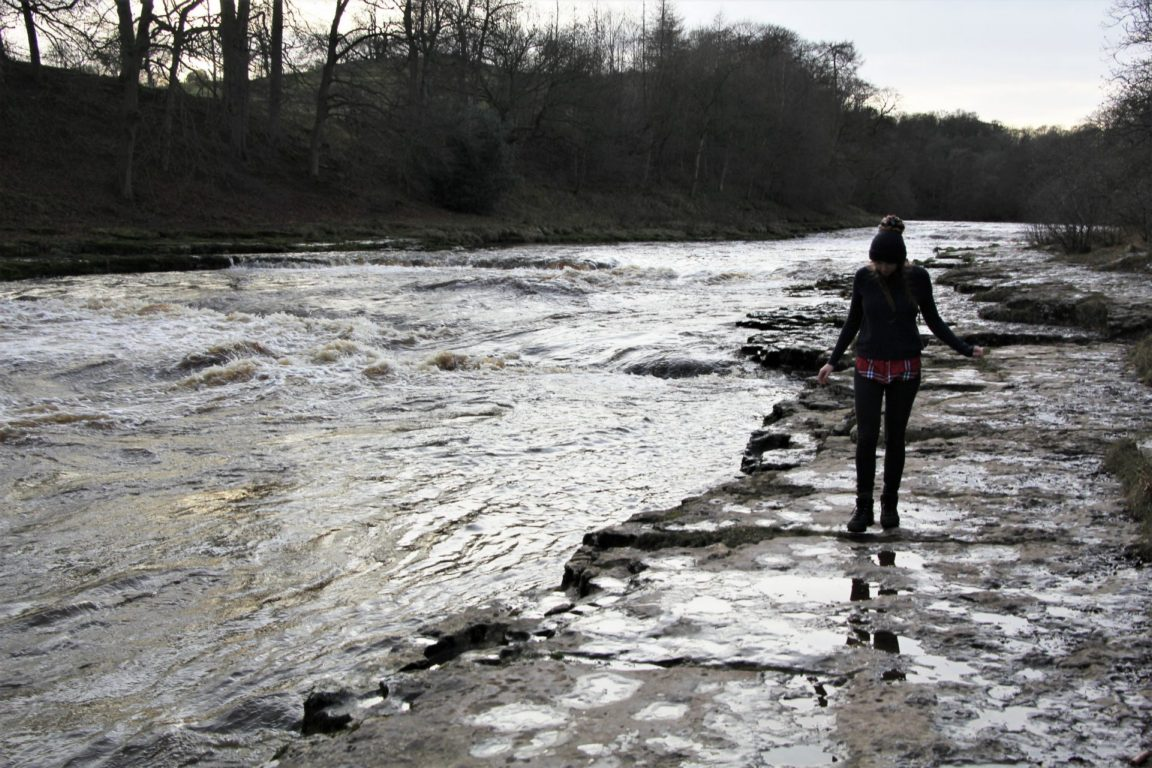 Girl walks by Aysgarth Lower Waterfall in North Yorkshire in winter