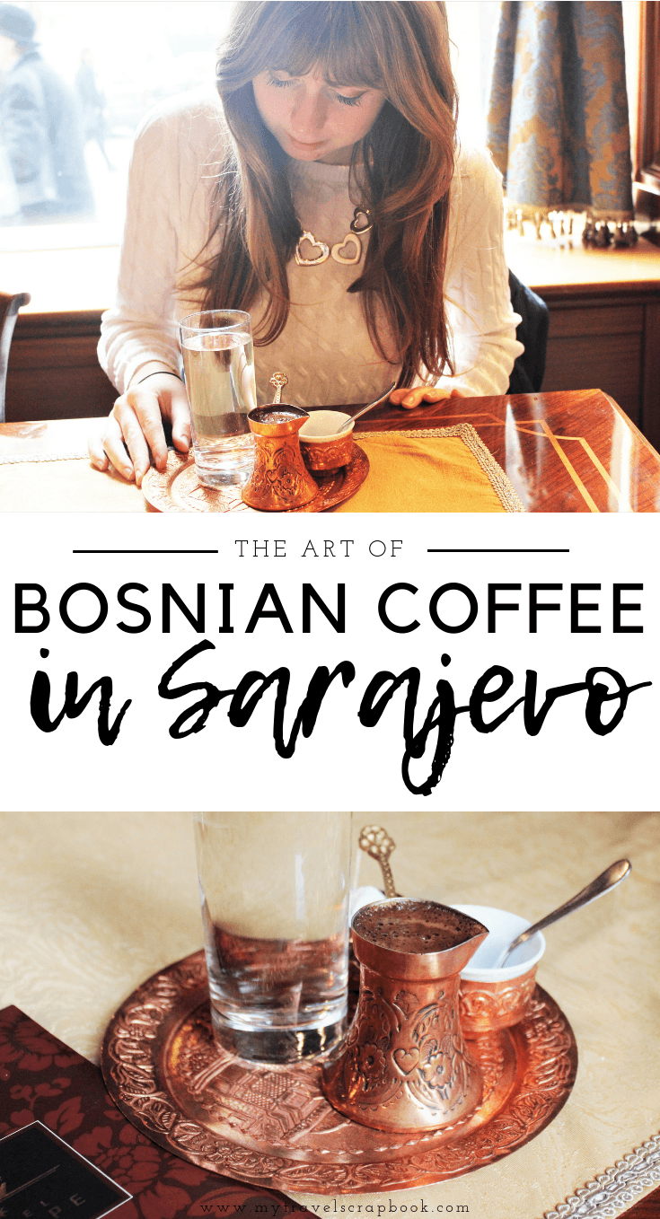 Bosnian Coffee at Vienna Cafe in Sarajevo, Bosnia and Herzegovina. The art of drinking this accidentally vegan delicacy in the capital of Bosnia is very particular. Learn how to drink vegan Bosnian coffee properly and where you can try this local drink in Sarajevo. #coffee #sarajevo #bosniancoffee #vegan