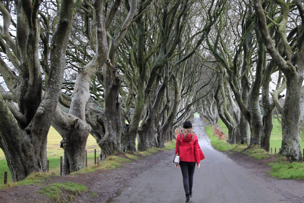 Anna walking through the Dark Hedges without crowds