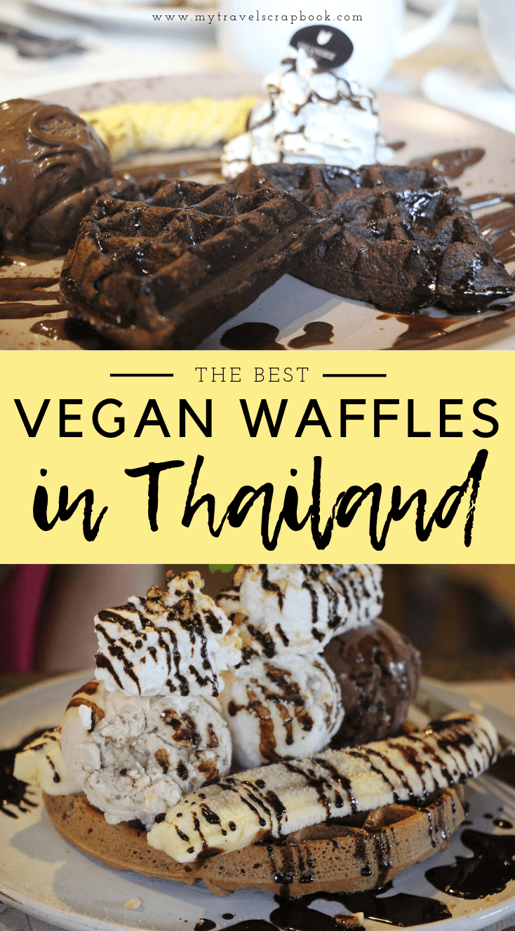 Where to find the best vegan waffles in Thailand! Thailand is a vegan's paradise for curries and pad thai but did you know that chef's across the Land of Smiles are also making fantastic vegan desserts? One dessert which has been heavily veganised is the waffle! Click on the post to see where you can try the best vegan waffles in Thailand Which waffle will you choose? #waffle #veganwaffle #vegan #vegantravel
