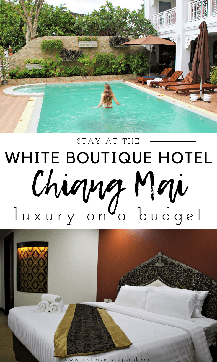 Discover Chiang Mai\'s romantic budget-friendly luxury boutique hotel. Read this to see why you should stay at the White Boutique Hotel in Chiang Mai. This is one of Chiang Mai\'s newest boutique hotels, meaning you can experience a little bit of luxury but still only pay budget prices as it is so new. Make sure you go now before everyone discovers the romantic Chiang Mai White Boutique Hotel and the prices rise! #chiangmai #chiangmaiaccommodation #romantic
