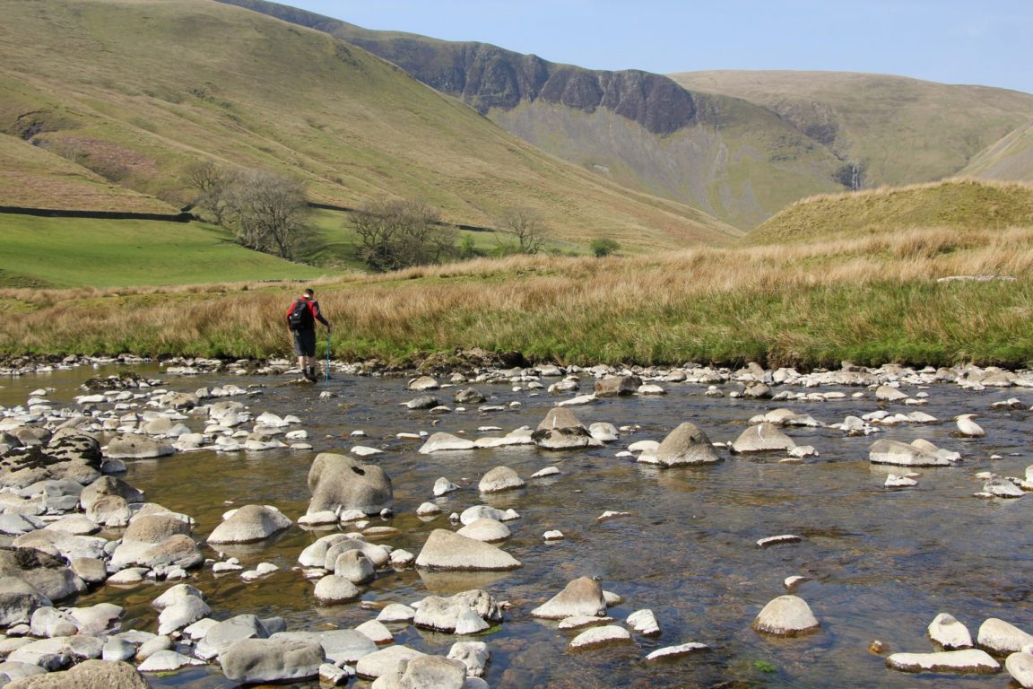 Crossing the River Rawthey Cautley Spout