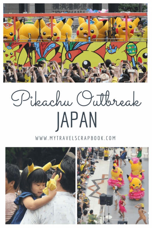 Pikachu Outbreak Festival in Yokahama, Tokyo, Japan! Giant Pikachus, tiny pikachus, dancing Pikachus, Pikachus on stilts, Pikachus with water guns, cuddly Pikachus, Pikachu hats, Pikachu posters, Pikachu everywhere! Read this post to find out what to expect when visiting Yokahama\'s Pikachu Outbreak festival! #pikachu #madness #yokahama #japan #tokyo