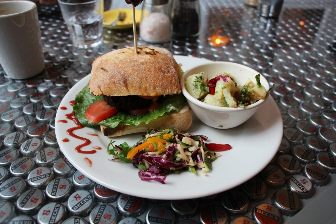 vegan burger at the dandelion cafe