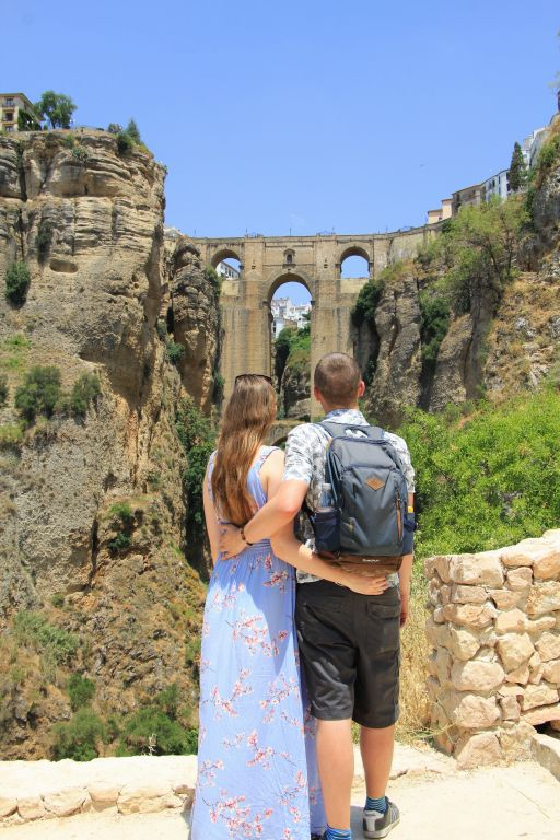 view of Ronda bridge from arch of Christ