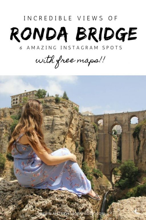 6 incredible views of the Ronda Bridge! The New bridge in Ronda also known as Puente Nuevo is one of Spain\'s most beautiful places to visit. In order to get that instagram perfect shot of the New Bridge in Ronda click on this post to see 6 amazing instagram spots around the Ronda bridge. Free maps are included to help you plan your trip in Ronda. #ronda #rondaview #spain