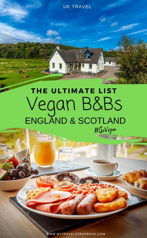 The best vegan B&Bs in the UK! If you prefer staying in 100% vegan accommodation with a vegan breakfast during your trip around the UK check out these amazing vegan B&Bs in England and Scotland. There are gluten-free vegan B&Bs to dog-friendly vegan B&Bs as well as LGBTQIA+ friendly vegan B&Bs. Which vegan B&B in the UK will you want to stay at? #veganaccommodation #veganb&b #veganuk