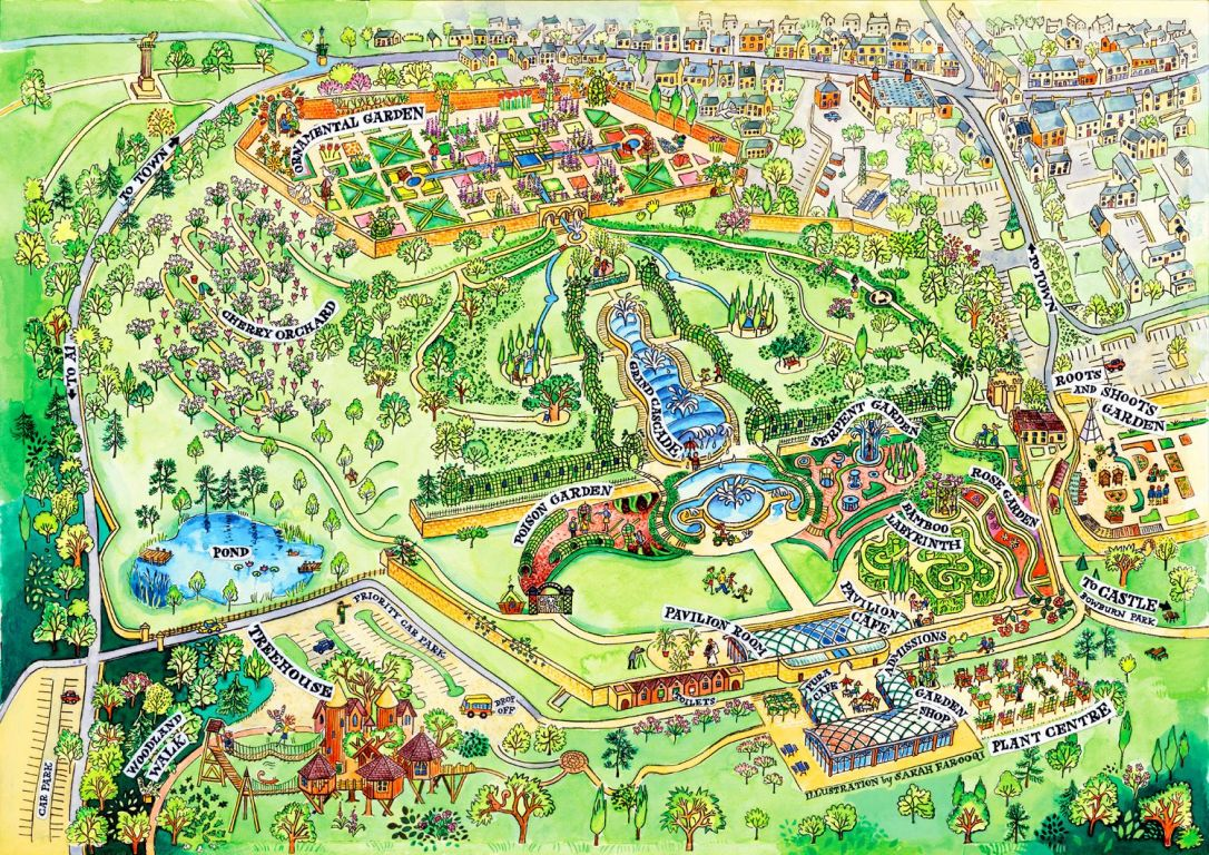 Alnwick Garden Hand-drawn Map