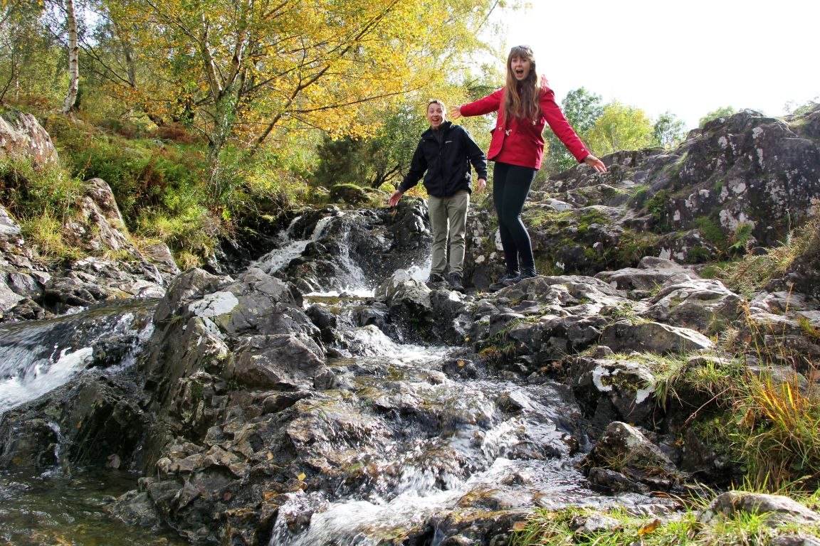 waterfall ashness bridge lake district couple