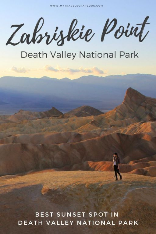 The Ultimate Guide to visiting Zabriskie Point in Death Valley National Park. Death Valley is full of amazing things to do and epic view points. Zabriskie Point is one of the best views in Death Valley. Sunset at Zabriskie Point is also magical as you watch the sun set behind the desert mountains. Click here to see why you must add Zabriskie Point to your places to visit in Death Valley list! #deathvalley #zabriskiepoint #visitdeathvalley