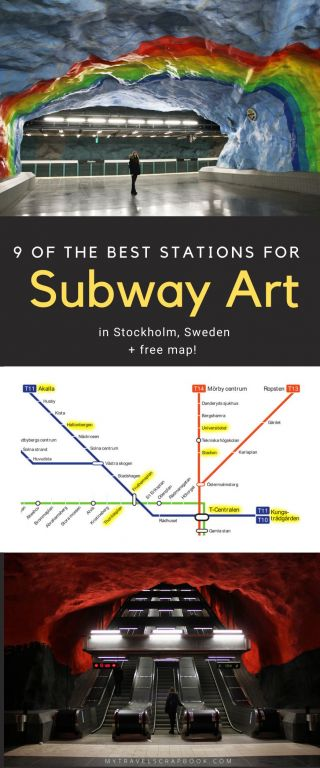 A self-guided tour of subway art in Stockholm! Find out where the best subway stations in Stockholm are to see epic subway art. The world\'s longest Art Museum can be overwhelming so use the free subway map to help plan your visit around the subway! Here are 9 must-see Subway stations in Stockholm #Subway #Stockholm #subwayart