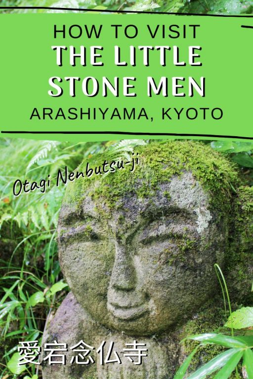 Visiting the little stone men of Arashiyama in Kyoto - Japan is full of beautiful temples but one, in particular, has been taken over by hundreds of 1200 statues known as Rakan. These little men are now covered in moss and are all individually carved. Click here for the ultimate guide of visiting Otagi Nenbutsu Ji #kyoto #arashiyama