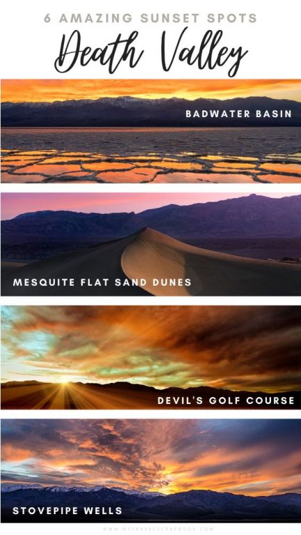 Sunset in Death Valley is magical. Yet do you know where the best spots to watch the sunset in Death Valley are? Here are 6 epic places in Death Valley to watch the sunset from. From up high at Dante\'s viewpoint to down low in Badwater Basin. Which spot will you choose for your upcoming trip to Death Valley?