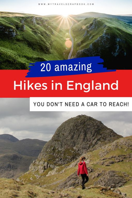 Want to be a more sustainable hiker? Looking to reduce your carbon-footprint on your next hike? Why not go on a car-free hike in England? While you need a car to reach many hikes in England, there are quite a few hikes you can reach by public transport! From the Lake District to the South Downs here are the best hikes in England you can reach by train, bus or bike! Which car-free hike in England will you want to go on first? #hike #car-free #englandhiking