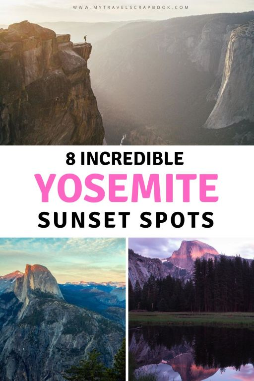 Yosemite sunset spots to explore! Wondering where the best place in Yosemite is to watch the sunset from? Here are 8 incredible Yosemite sunset spots to choose from depending on your hiking ability and the time of year you visit Yosemite. Choose from a top-down view at Glacier Point and Sentinel Dome or a valley sunset such as Cook\'s meadow or Tunnel View plus a few more! This is the ultimate Yosemite guide to catching the sunset in the Californian national park. #Yosemite #sunset