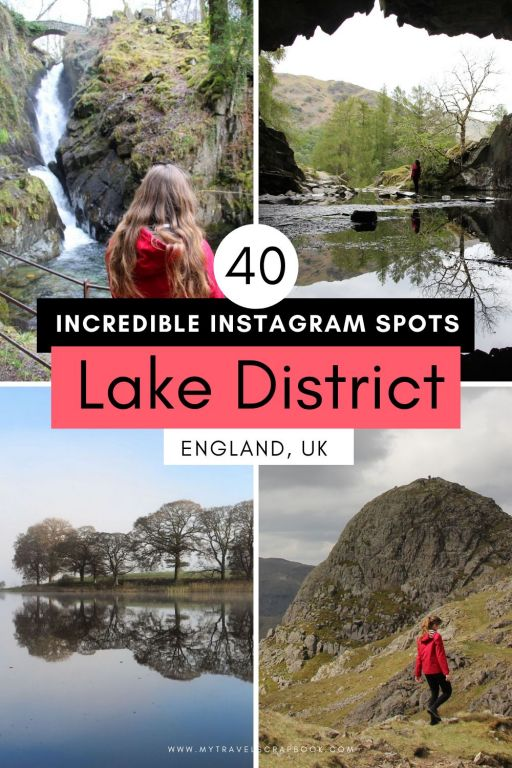 40 incredible Instagram spots in the Lake District National Park, Cumbria, England, UK. The Lake District has many wonderful photography spots from huge lakes to towering mountains. This Lake District Instagram spot list includes famous spots such as Lake Windemere and Aira Force to lesser-known spots such as Castlehead point near Keswick and Rydal Cave. Make sure you pack your camera and a rain coat then get ready to visit the Lake District! #lakedistrict