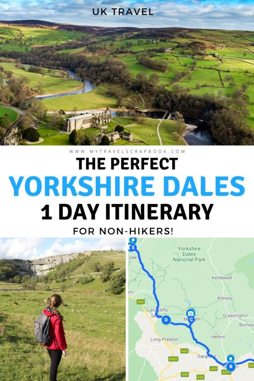 The perfect Yorkshire Dales 1 day itinerary - for non-hikers! Even if you don\'t fancy hiking, there are many wonderful things to do in the Yorkshire Dales. It can be hard to plan your Yorkshire Dales visit as there are so many beautiful spots in the dales! Hopefully this Yorkshire Dales itinerary will help you plan the perfect trip to the Yorkshire Dales! It includes Yorkshire Dales waterfalls, Malham Cove, Bolton Abbey, Ribbleshead Viaduct and the pretty market town of Skipton! #yorkshiredales
