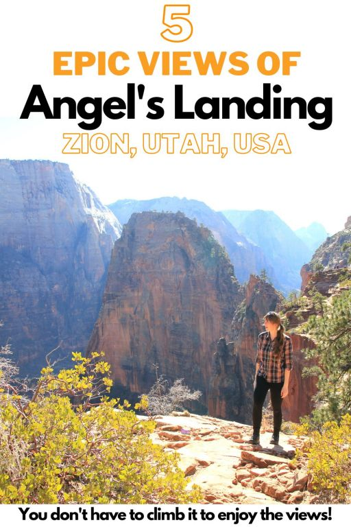 5 amazing views of Angel\'s landing! You don\'t have to hike Angel\'s landing to enjoy the views! There are plenty of places in Zion national park where you can admire Angel\'s Landing from. The huge rocky cliff can be admired from the West Rim trail in Zion, from the Angel\'s Landing trail head, from Observation point, from the Virgin river and from Scout\'s Landing. To see a map of all these Angel\'s landing viewpoints click here! #zion #angelslanding