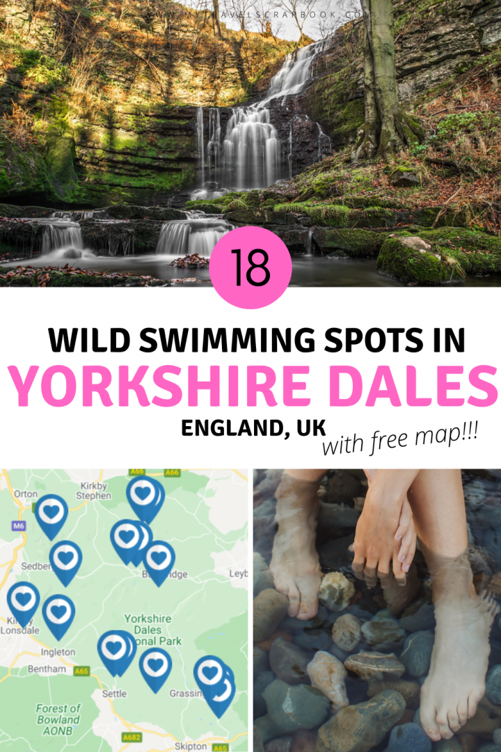 Wild swimming spots in the Yorkshire Dales national park! Here are 18 incredible places to swim in Yorkshire Dales! From beautiful Yorkshire Dales waterfalls to stunning Yorkshire rivers, there is a wild swimming spot that is perfect for you! While the Yorkshire Dales may not have as many wild swimming spots as the lake district, the lesser known places mean fewer crowds! Which wild swimming in the yorkshire dales spot will you want to try first!? #wildswimming #yorkshiredales